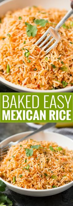 Easy Baked Mexican Rice | This foolproof method for cooking rice tastes just like the rice from your favorite Mexican restaurant... full of flavor and cooked to perfectly fluffy perfection! | http://thechunkychef.com Mexican Rice Recipes, Baked Mexican Rice Recipe, Fiesta Rice Recipe, Mexican Party Foods, Easy Mexican Rice, Mexican Rice Dishes, Enchiladas, Food Dishes, Best Side Dishes