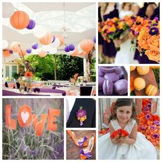 Purple and Orange Wedding Inspiration Board