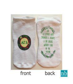 Sorority Alpha Gam Greek Letters No Show Socks  Monogram/ Big/Little option for gift!! More@ newbeginningdesigns.com