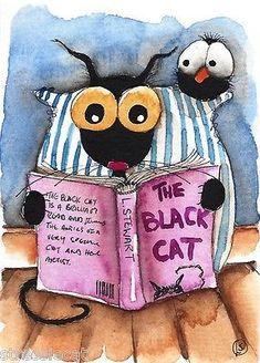 ACEO-Original-watercolor-painting-folk-art-illustration-black-cat-crow-book-read