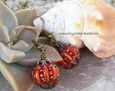 Beaded Pumpkins for Her, Cute Pumpkin Earrings, Fall Jewelry, Autumn Earrings, Orange Pumpkins