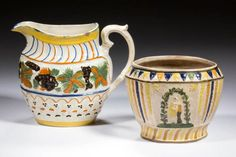 ENGLISH PRATT WARE CERAMIC JUG AND SUGAR, LOT OF TWO,  jug with polychrome coloring, central band of molded decoration depicts grapevines in orange, brown, and green pigments, and base is molded with a petal and line design outlined in brown and orange pigment, concave rim is painted in yellow and edge of rim is highlighted in blue, dashes and lines in orange are along the top of the handle; sugar bowl paneled and molding, having leaf decorations, one side with woman under an arbor…
