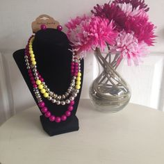 Magenta and yellow necklace set Multi layered necklace and earring set. Yellow,agents, silver and iridescent beads. New never used. Please use the offer button for price negotiations. Only reasonable offers will be considered! 20% off bundles! NO TRADES! NO PAYPAL! NO LOW BALLERS! Jewelry Necklaces