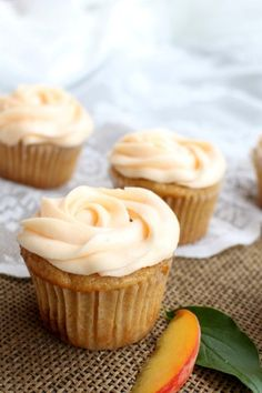 Brown Butter Peach Cupcakes - Perfect for summertime celebrations! | www.chocolatewithgrace