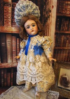 Costume Cotton Doll Dress with embroidered lace, velvet bonnet fits from antiquedollplace on Ruby Lane