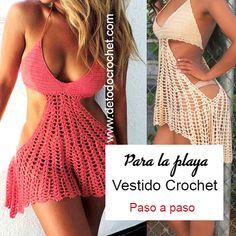 Patrones y tutoriales de tejido crochet ganchillo gratis para descargar Crochet Beach Dress, Crochet Bikini Top, Crochet Top, Crochet Fabric, Crochet Patterns, Fabric Patterns, Crochet Clothes, Diy Clothes, Beau Crochet