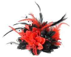Gothic Red and Black Fascinator Corsage Flower Petals Feathers Handmade Caprilite http://www.amazon.co.uk/dp/B00DWKBPPO/ref=cm_sw_r_pi_dp_kFyCwb17RXA3F
