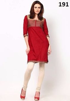 Kana Fashion Amazing Red Cotton Designer Kurti Kurtas and Kurtis For Women on Shimply.com
