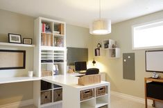 Setting for Four: 10 + Helpful Home Office Storage and Organizing Ideas. Ikea shelf units anchor a desk