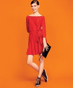 spring 12 - bright colours red dress and high tops