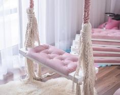 The Pastel Swing for Kids! Bedroom Swing, Girls Bedroom, Bedroom Decor, Indoor Swing, Kids Swing, Baby Kind, Little Girl Rooms, Awesome Bedrooms, My New Room