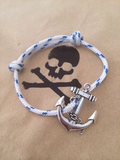 Blue & White Anchor Pirate Bracelet handmade by captain moo