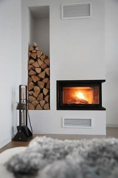 You searched for Kamin - Trendenser Home Fireplace, Modern Fireplace, Living Room With Fireplace, Fireplace Design, Home Living Room, Swedish Interior Design, Interior Decorating, Colorful Apartment, Sweet Home