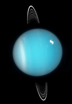 Uranus Has a Bright New Spot, Picture Shows - Icy planet may have towering methane cloud, expert says. - A Hubble picture of Uranus in 2005, shortly before the planet's equinox. IMAGE COURTESY NASA/ESA AND M. SHOWALTER, SETI