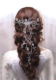Crystal hair vine Bridal hair vine Wedding hair vine Long hair