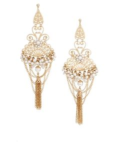 Filigree Chain Chandelier Earrings Chandelier drop design Faux pearl embellishments Curb chain detail Gold-tone finish Stud fastening with a bullet clutch back