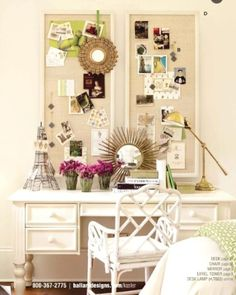 inspiration board and work space...love it