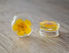 13/16 20mm yellow real flower plugs real by JEWELRYandPLEASURE