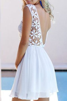 dress white lace crochet open back summer fashion style
