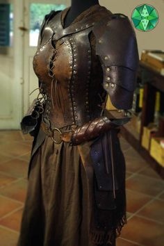"""Armor / female corset """"Complete set of Cybele"""" Leather Armor, Leather And Lace, Female Armor, Female Viking Costume, Larp Armor, Medieval Clothing, Gypsy Clothing, Medieval Gown, Steampunk Clothing"""