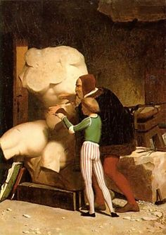 Michelangelo in his Studio, by artist Jean-Leon Gerome. hand-painted museum quality oil painting reproduction on canvas. Michelangelo, George Sand, Norman Rockwell, Rembrandt, Museum Of Modern Art, Art Museum, Delacroix Paintings, Almeida Junior, Jean Leon