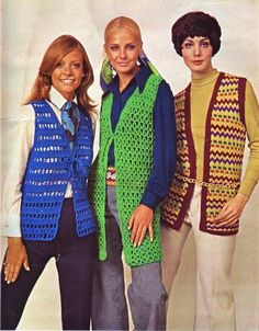 1970s crochet vest fashions. Mine was red and white...Eubank Bulldogs school colors.
