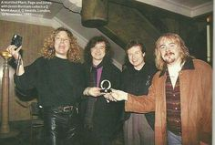Robert Plant, Jimmy Page and John Paul Jones of Led Zeppelin with Jason Bonham at the Q Awards - London 92