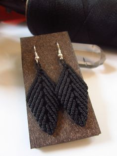 Macrame Black Leafs Earrings Handmade. $14,00, via Etsy.