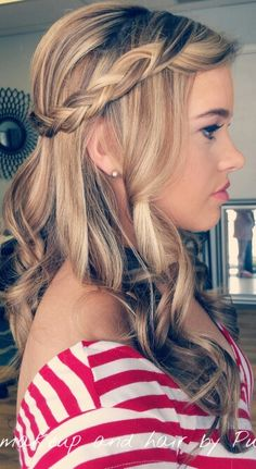 Down do with a braid. Great for bridesmaids or prom Airbrush Makeup, Wedding Wishes, Bridesmaids, Braids, Prom, Hairstyles, Pure Products, Long Hair Styles, Beauty
