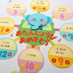 お誕生表/ゾウさん観覧車🎡 * ポット2018年4月号別冊付録で、お誕生表壁面飾りの案と製作を担当させていただきました。 * * #お誕生表 #誕生日 #birthday #ぞう #観覧車 #製作 #工作 #幼稚園 #保育園 #保育 #子ども #papercraft… Preschool Crafts, Diy And Crafts, Crafts For Kids, Class Decoration, School Decorations, School Murals, Birthday Board, Kid Spaces, Kawaii