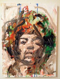 Jimi Hendrix Painting Modern Pop Art Painting 18x24 by MattPecson