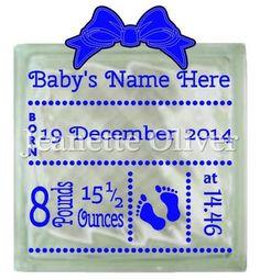 Personalised baby design STUDIO cutting file.   Baby's name, date, weight and time can be personalised  Suitable design for use on cards, in frames or on glass light blocks  Glass Block and Bow are for illustration purposes only and not included in this download  Small commercial use allowed. Please see my TOU
