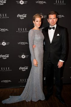 Danish actor Nikolaj Lie Kaas with his wife Anne Langkilde (in Jesper Høvring) at Elle Style Awardson May 15th 2013