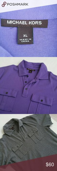 MEN'S MICHAEL KORS SHIRTS BUNDLE, SZ XL MENS MICHAEL KORS SHIRTS, SHORT SLEEVE,  SZ XL, 2 SHIRTS FOR THE PRICE OF 1, ONE GRAY AND ONE  PURPLE WITH 2 FRONT DECORATIVE POCKETS, COLLARED AND 3 BUTTON FRONT. Michael Kors Shirts Casual Button Down Shirts