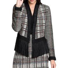 Nic+Zoe Women's Traditional Plaid Blazer ($198) ❤ liked on Polyvore featuring outerwear, jackets, blazers, neutral, tartan blazer, tartan jacket, open front jacket, open front blazer and plaid jacket