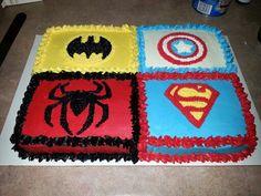 Super Hero Cake   *I would have Iron Man & the Hulk instead of Batman & Superman