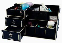 Menu Life Home Office Desk Storage Organiser Boxes Lady Jewellery Storage Boxes Jewelry and Cosmetic Storage Wood Makeup Organizer (Black) Menu Life