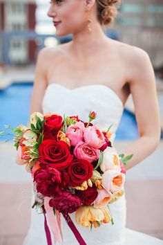 Rose, peony, and tulip bridal bouquet