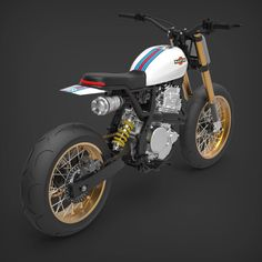 We love when our customers come up with fresh ideas. Here a sneak peek of a possible Martini design for the LM 🔴🔵 Yamaha 250, Honda Scrambler, Scrambler Motorcycle, Motorcycle Style, Honda Dominator, Motorcycle Paint, Tw 125, Moto Cafe, Offroader