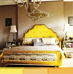 Nothing mellow yellow about this tufted headboard! Dream Bedroom, Home Bedroom, Master Bedroom, Bedroom Decor, Bedroom Sets, Master Suite, Bedding Sets, Modern Bedroom, Yellow Headboard