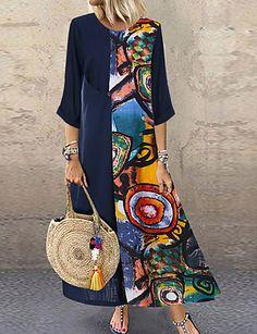 FloryDay / Plus Size Color Block Round Neckline Casual Midi Shift Dress Plus Dress Women's A Line Dresses, Plus Dresses, Casual Dresses, Dresses With Sleeves, Maxi Dresses, Loose Dresses, Summer Dresses, Dress Long, Bridal Dresses