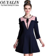 L- 5XL Elegant Contrast Color Autumn Skater Dress Three Quarter Sleeve Slim Fit Flare Short Party Big Size Great, huh? http://www.artifashion.net/product/l-5xl-elegant-contrast-color-autumn-skater-dress-three-quarter-sleeve-slim-fit-flare-short-party-big-size/ #shop #beauty #Woman's fashion #Products
