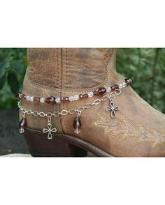 Items similar to Boot Candy Amethyst Crystals and Crosses with Chain 608124 Boot Jewelry-Boot Bling-Boot Bracelet-Boot Accessories on Etsy Boot Bling, Cowgirl Bling, Cowgirl Boots, Boot Jewelry, Anklet Jewelry, Cowgirls, How To Make Boots, Botas Boho, Boot Scootin Boogie