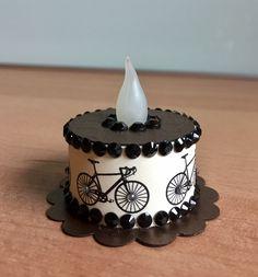 Bicycle Tea Light Cake (made by Kim) Tea Light Lanterns, Tea Light Candles, 3d Paper Crafts, Paper Gifts, Battery Operated Tea Lights, Light Cakes, Cake Craft, Christmas Tea, Birthday Crafts