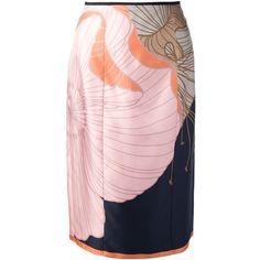Nina Ricci Printed Skirt ($512) ❤ liked on Polyvore featuring skirts, multicolour, multi color skirt, floral printed skirt, floral skirt, pink skirt and pink silk skirt