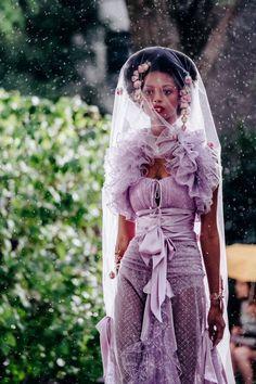 Purple Rain: during the show (ph: for Hair by for Undergarments by Black Women Fashion, Asian Fashion, High Fashion, Womens Fashion, Pink Dress, New Dress, Runway Fashion, Fashion Trends, Purple Rain