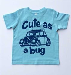 Toddler T-shirtCute as a Bug Boys Blue T-shirt-VW by SpokeNwheelz