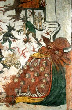 Hellmouth, Detail of the Last Judgement fresco at Saint Martin church in Sillegny, Lorraine, France, c. Classical Art Memes, Medieval Manuscript, Medieval Art, Illuminated Manuscript, Eslava, Art Roman, Book Of Hours, My Demons, Dark Ages