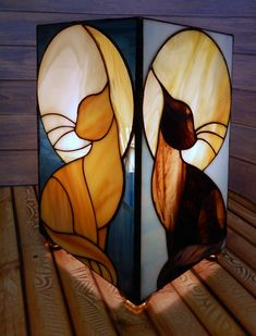 Котики Stained Glass Light, Stained Glass Crafts, Stained Glass Patterns, Leaded Glass, Mosaic Glass, Glass Art, Tiffany Art, Tiffany Glass, Tiffany Lamp Shade