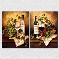 Online Shop Fresh fruits and wine canvas pictures for kitchen wall decoration 2 panels canvas arts pictures high quality